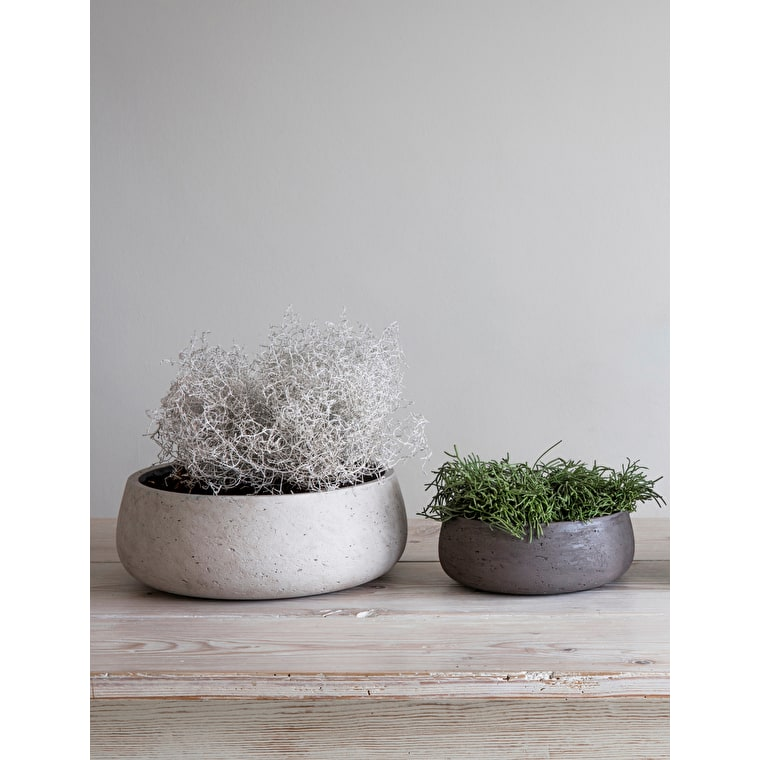 Cement Set of 2 Stratton Flower Bowls in Cream or Brown | Garden Trading