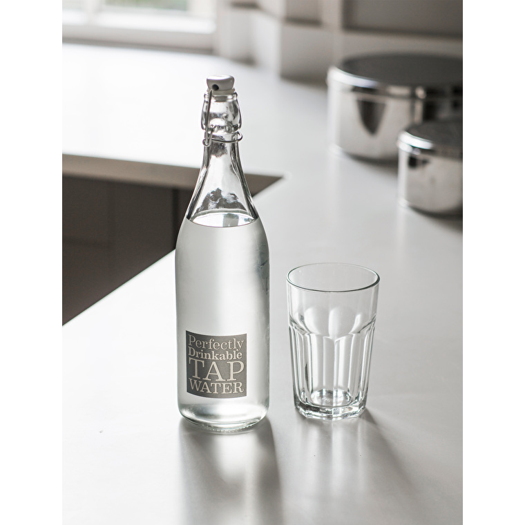 Glass Tap Water Bottle in Grey  | Garden Trading