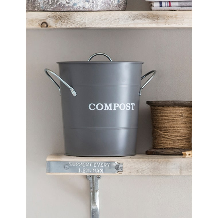 Steel Compost Bucket in White, Grey, Cream or Blue | Garden Trading