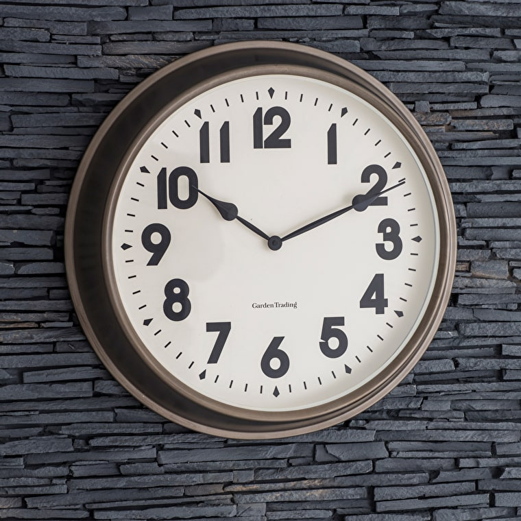 Indoor and Outdoor Broadway Wall Clock in Small or Large | Garden Trading