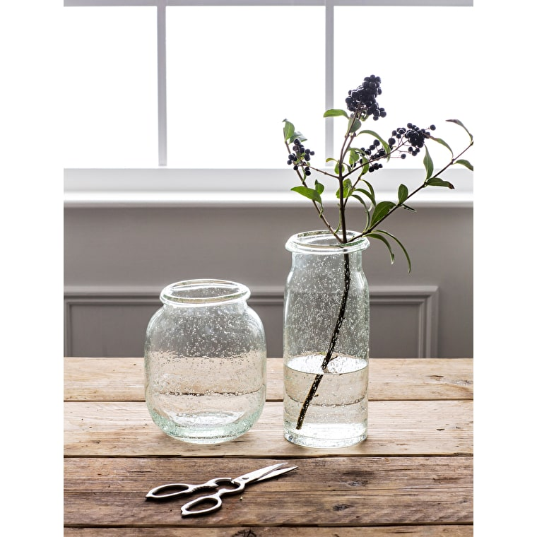 Recycled Glass Sennen Vase in Short or Tall | Garden Trading