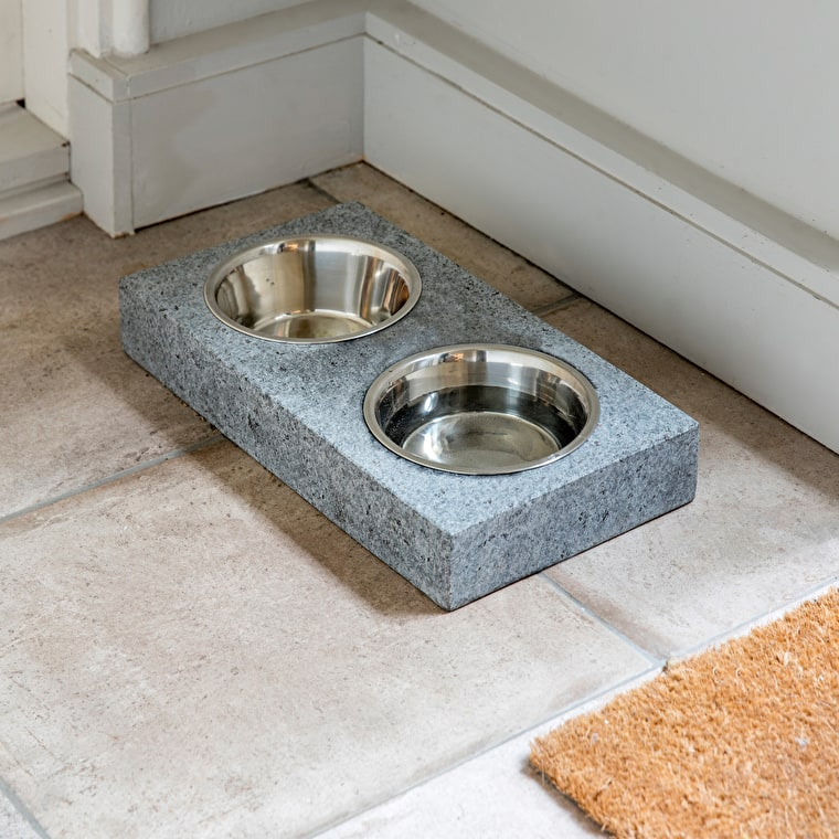Granite Set of 2 Pet Bowls in Small or Large  | Garden Trading
