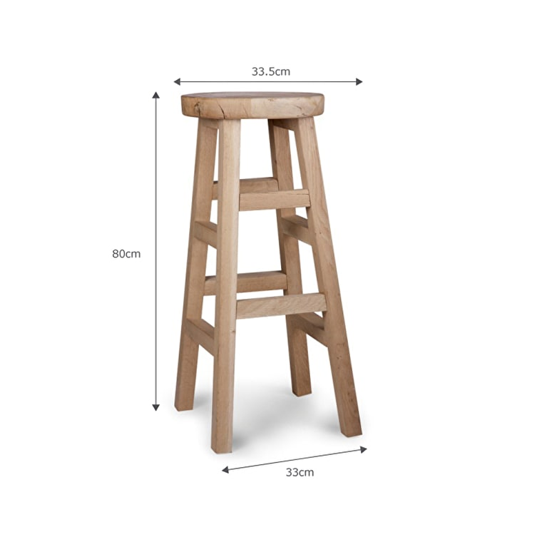 Raw Oak Hambledon Stool in Small or Large | Garden Trading
