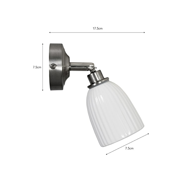 Ceramic Alma Bathroom Spotlight in Chrome or Satin Nickel | Garden Trading