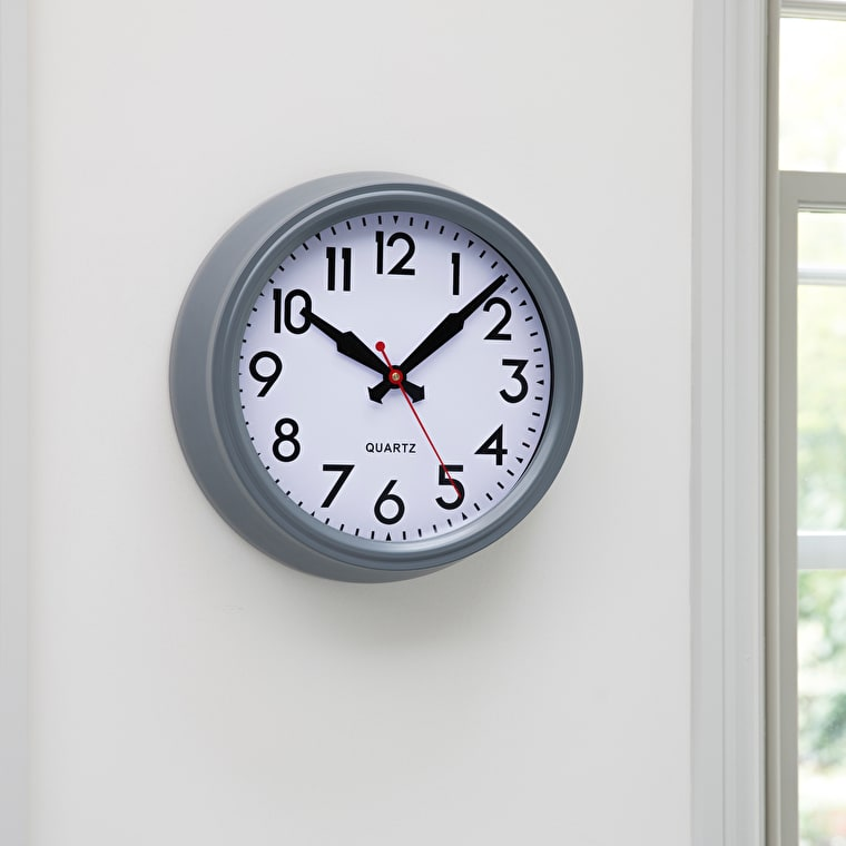 Indoor Smithfield Clock in Grey in Small or Large  | Garden Trading