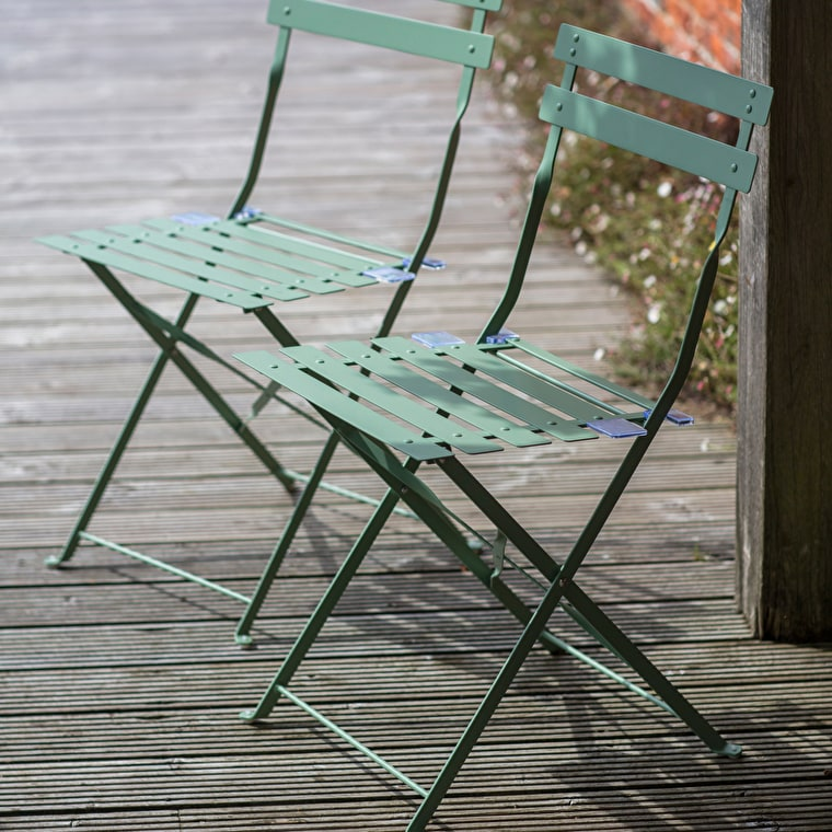 Set of 2 Bistro Chairs in Grey, Cream or Green   Garden Trading