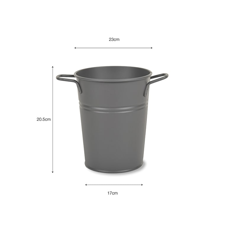 Steel Florist Bucket Vase in Grey in Small, Medium or Large | Garden Trading