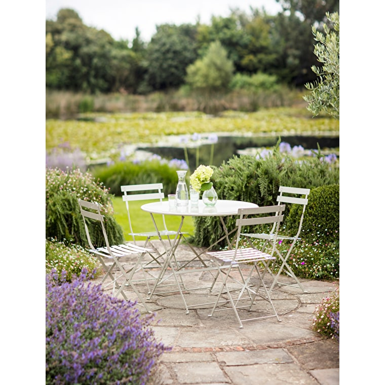 Large Folding Rive Droite Bistro Set in Cream | Garden Trading