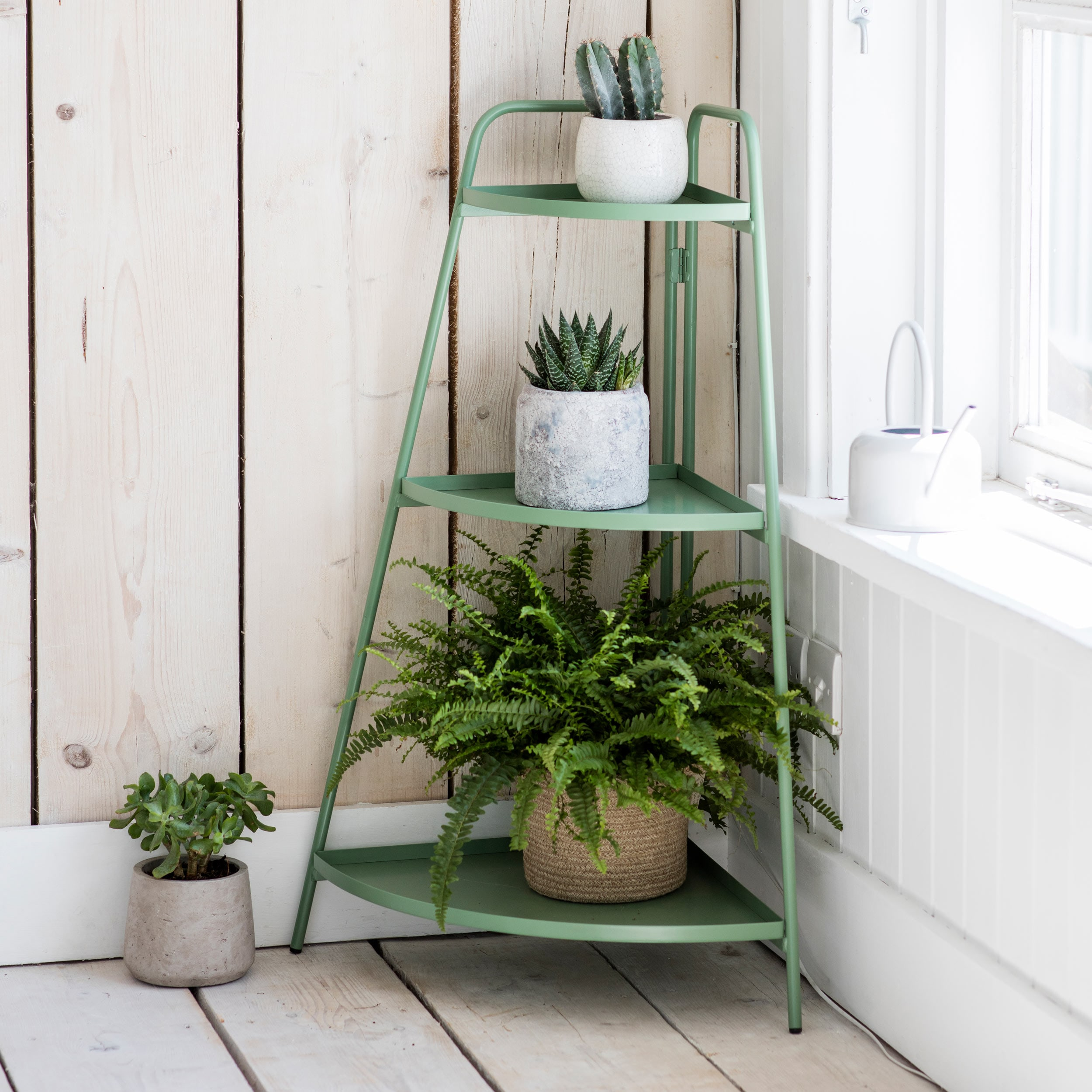 Steel Corner Plant Stand in Green or Grey   Garden Trading