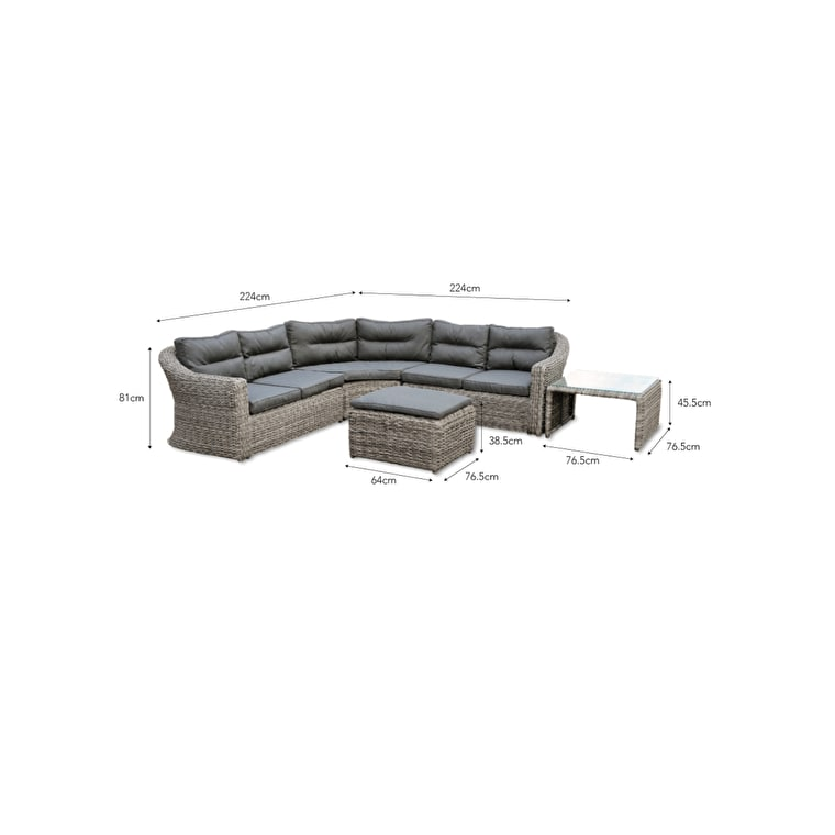 All-weather Rattan Lodsworth Outdoor Corner Sofa Set | Garden Trading