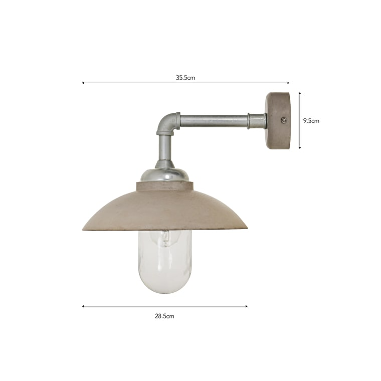 Concrete Southbank Canopy Outdoor Wall Light | Garden Trading