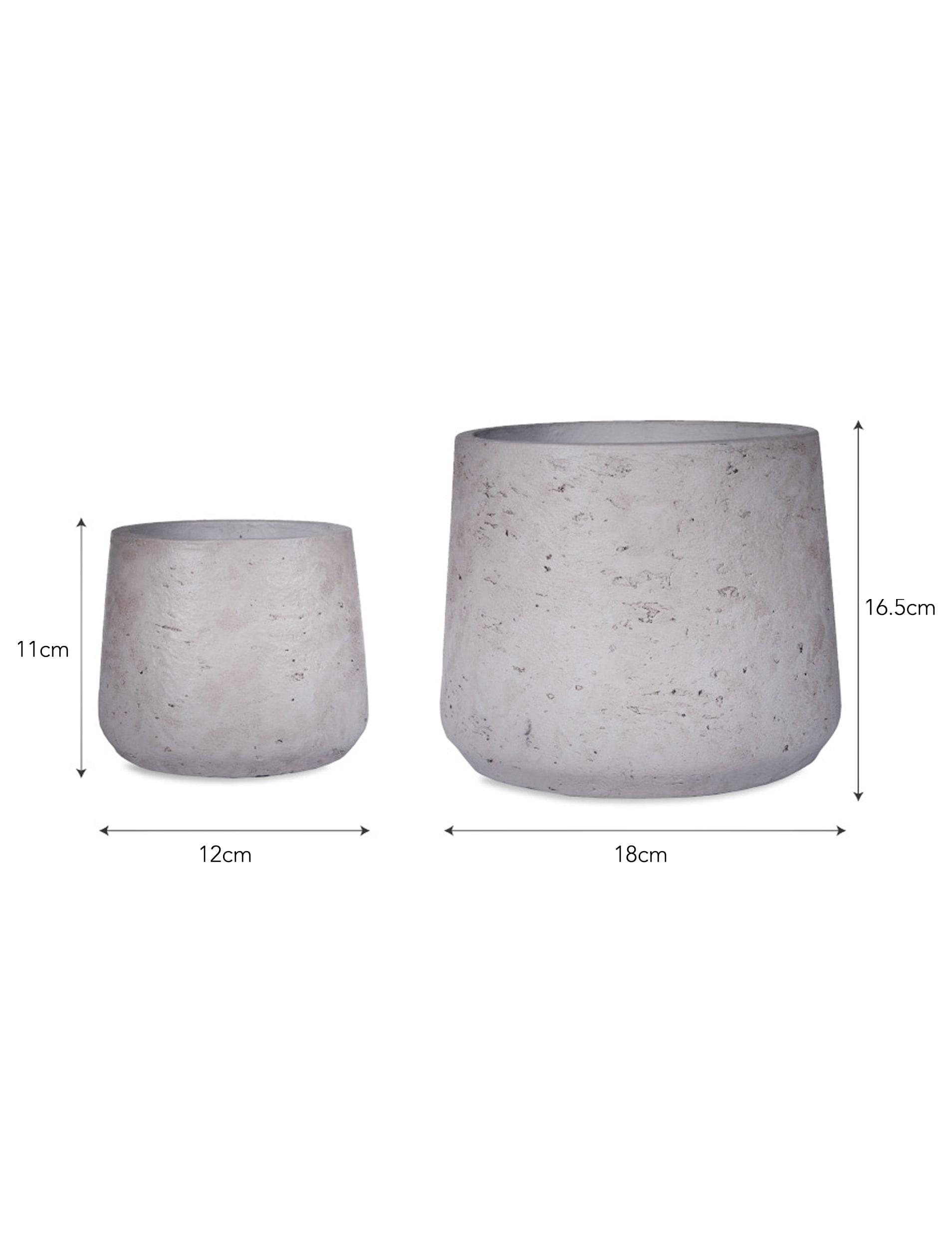 Cement Set of 2 Stratton Tapered Plant Pots in Stone   | Garden Trading