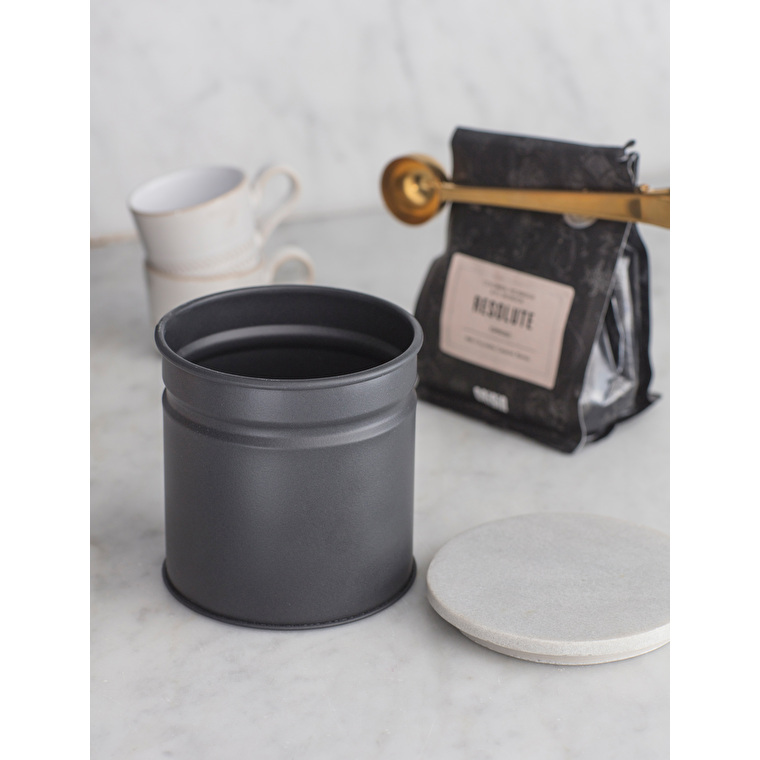 Marble and Steel Brompton Canister in Black or White | Garden Trading