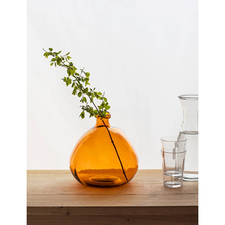 Recycled Glass Wells Bubble Vase in Amber or Green | Garden Trading
