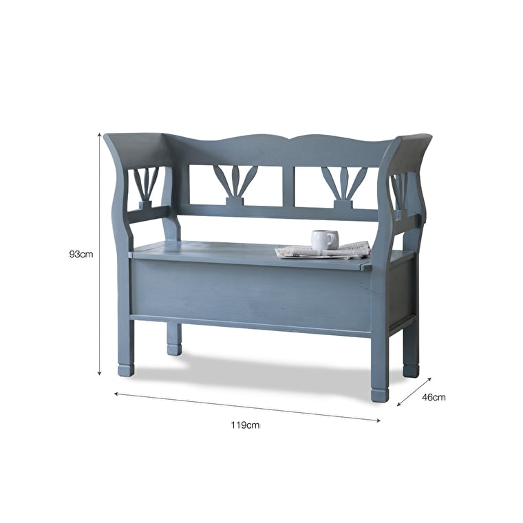 Wooden Hungarian Settle Bench in Grey in Small or Large | Garden Trading