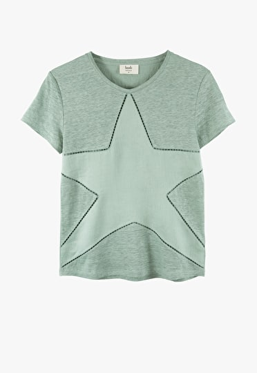 Relaxed oversized cut out star tee in granite green
