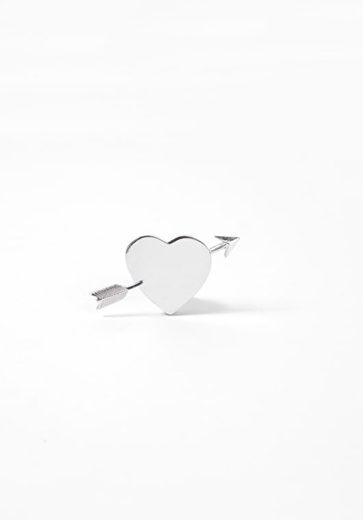 Stunning silver heart and arrow pin brooch