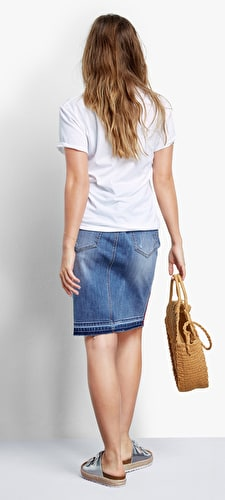 Tape Denim Pencil Skirt