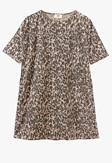 Modern take on an oversized t shirt dress in a our beautiful Haze Print with a scoop neck and short sleeves