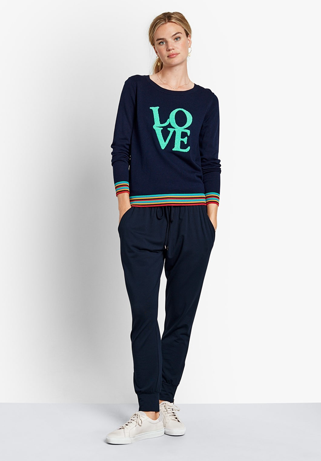 Striped Trim Love Jumper | hush