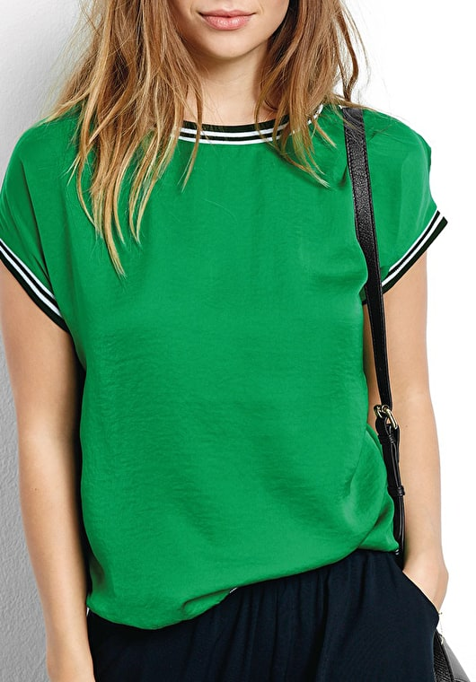 Model wears our Lightweight top with contrast jersey striped hems in Jolly Green