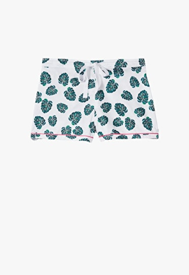 Printed monstera leaf piped cotton pyjama shorts with a pink trim