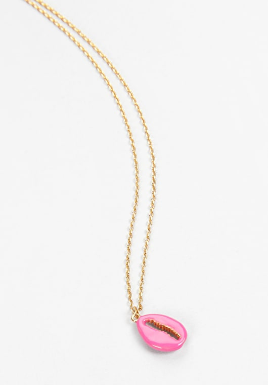Pink Cowrie Shell pendant with an adjudtable gold chain