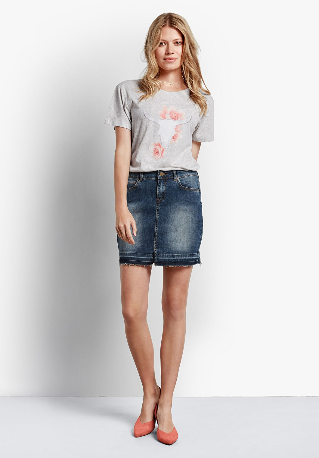 Raw Edge Denim Mini Skirt | hush