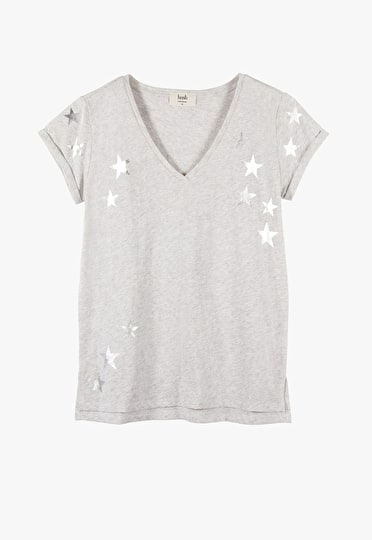 V neck printed tee with a metallic scatter star print in light grey marl and metallic silver