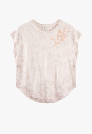 Metallic bird and rose tattoo print boxy tee in tie dye and rose gold
