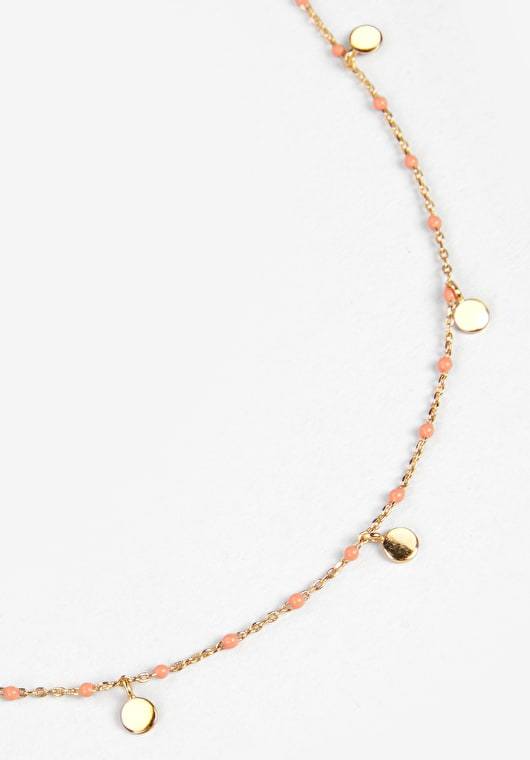 Delicately beaded chocker with Gold disks in gold and coral