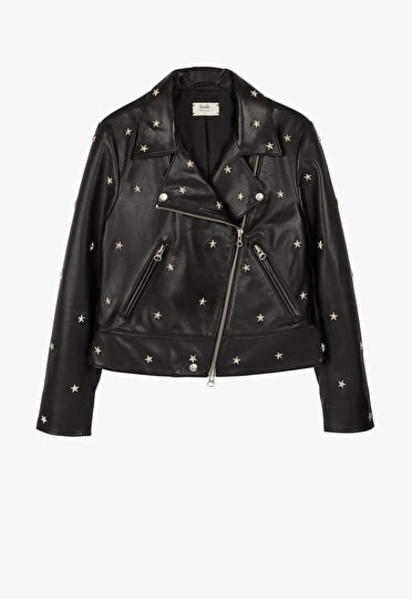 Black leather jacket with metal star shaped studs in a relaxed style
