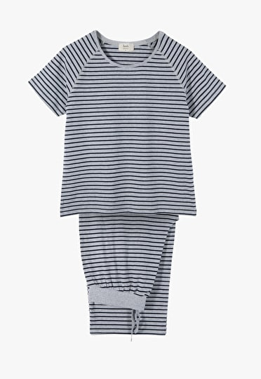 Striped Jersey Culotte Pj Set