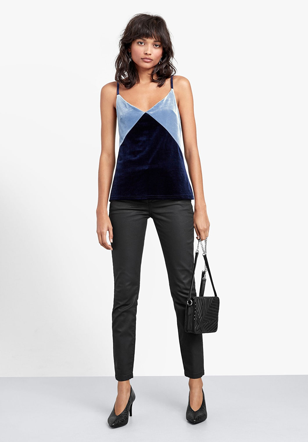 Velour Colourblock Cami | hush