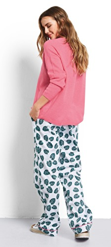 Monstera Leaf Piped Cotton Pj Trousers