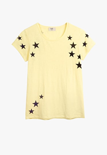 Scatter Star printed crew neck tee in pastel yellow with asphalt stars