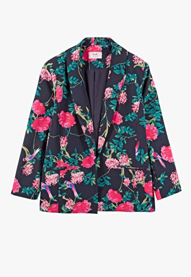 Vibrant floral lightweight blazer in an ornate midnight print