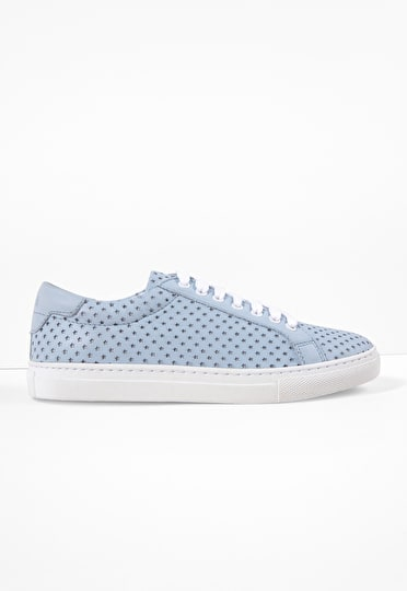 Star-cut out pattern on baby blue leather trainers