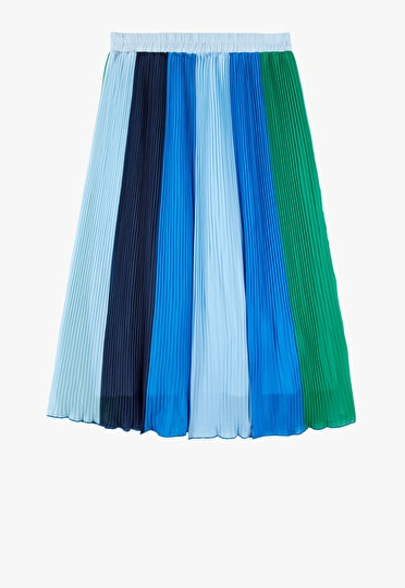 Striped colourblock pleated maxi skirt in shades of blue and green