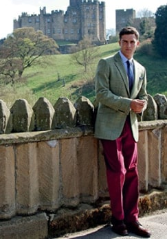 Green Tweed Jacket and Magenta Corduroy Trousers