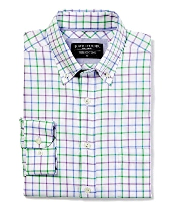 Button-Down Oxford Shirt - Purple/Green