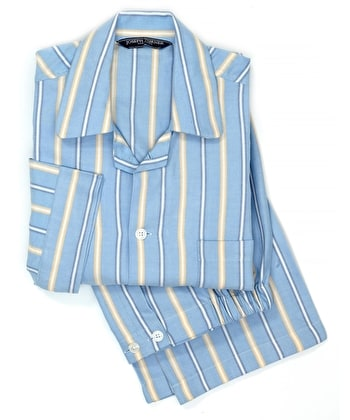 Pyjamas - Blue/Yellow Stripe - Brushed Cotton