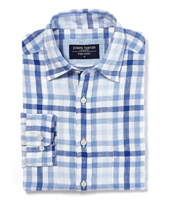 Linen Shirt - Long Sleeve - Blue/Navy Gingham