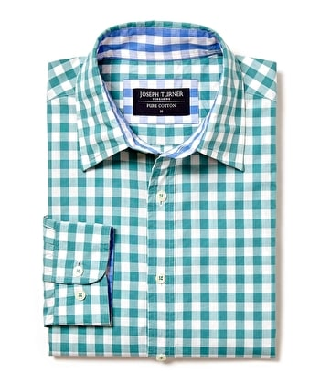 Casual Gingham Check Shirt - Teal Gingham