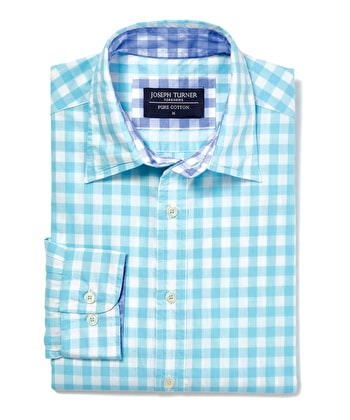 Casual Gingham Check Shirt - Aqua Gingham