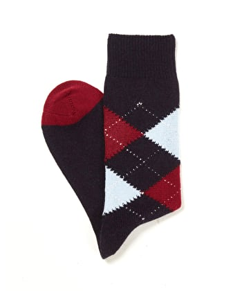 Argyle Socks - Navy/Red/Sky