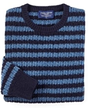 Lambswool Striped Rib Crew Neck - Navy/Blue