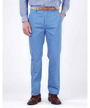 Flat Front Chinos - Blue