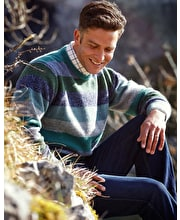Shetland Jumper - Striped Crew Neck - Blue/Green