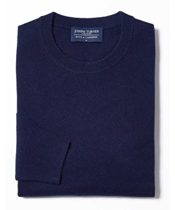 Wool/Cashmere Jumper - Crew Neck - Navy